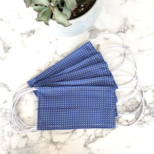 Pack Of Five Steel Blue Polka Dot 100% Cotton Facemask