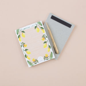 Lemon Print Magnetic Shopping List Notepad - magnets
