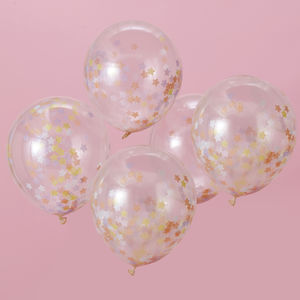Pastel Star Confetti Party Balloons Five Pack