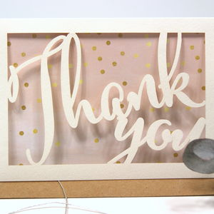 Thank You Gold Dotty Laser Cut Card - thank you cards