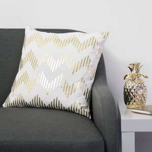 Metalic Zig Zag Cushion In White And Gold