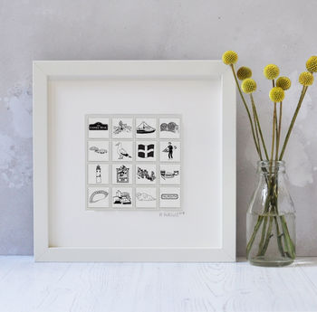 Illustrated Cornwall Tiles In Box Frame
