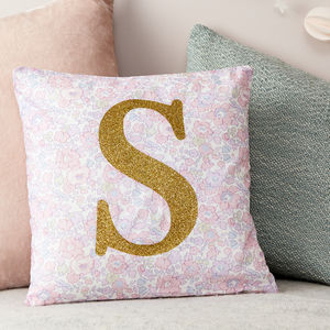 Personalised Pink Cushion Liberty Betsy And Glitter - personalised gifts
