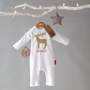 Personalised Rudolf Christmas Romper Glitz Edition - baby's first christmas