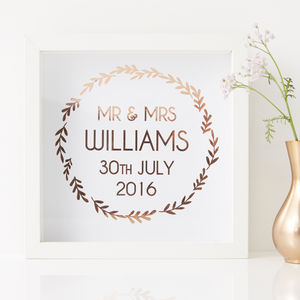 Framed Personalised Wedding Print - gifts for couples