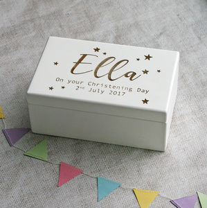 Personalised Wind Up Christening Music Box - baby & child