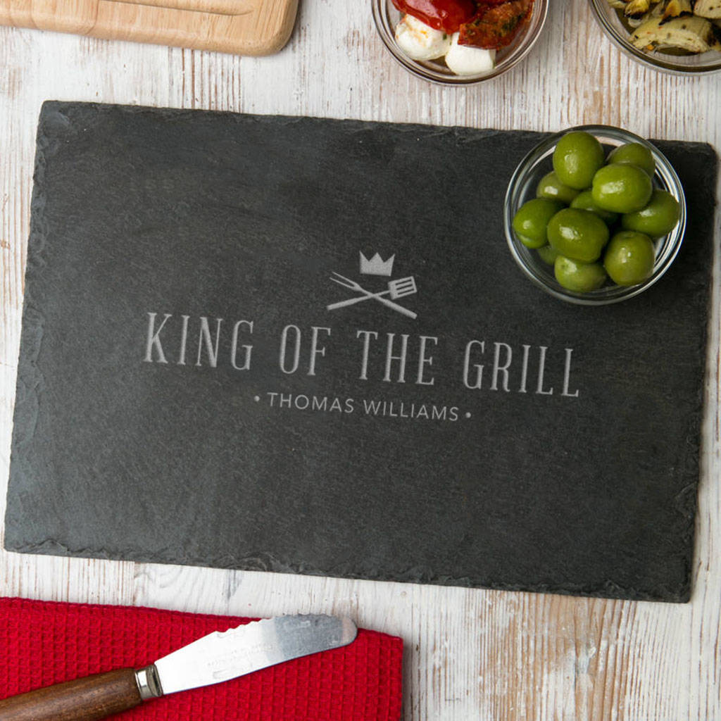 'King Of The Grill' Slate Serving Board Personalised