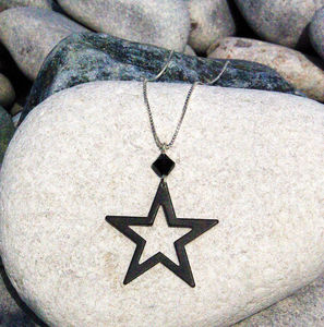 Matt Black Silhouette Star Necklace Swarovski Crystal