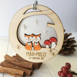 Personalised Baby Twins First Christmas Fox Bauble