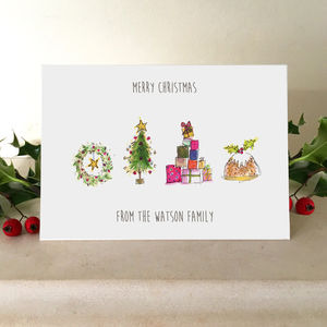 Personalised Illustrated Family Christmas Cards - cards