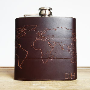 Personalised Atlas Leather Flask - birthday gifts
