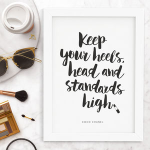 Coco Chanel Keep Your Heels High Typography Print
