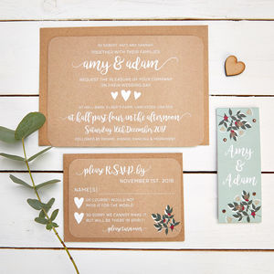 Winter Blossom And Berries Wedding Invitation Bundle - invitations