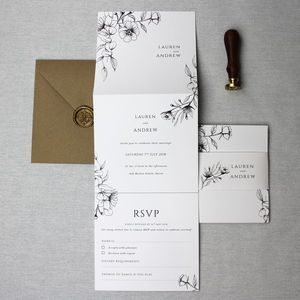 Floral Elegance Wedding Invitation Suite - invitations