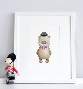 Personalised London Gent Print - nursery pictures & prints