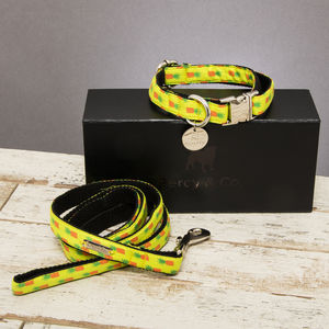 The Soho Yellow Pineapple Dog Collar And Lead Set - pet collars