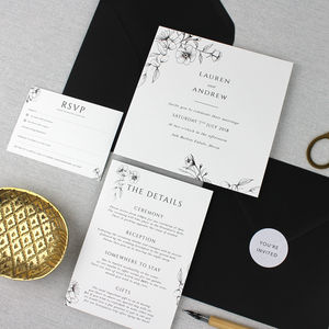 'The Laura' Elegant Floral Wedding Invitation