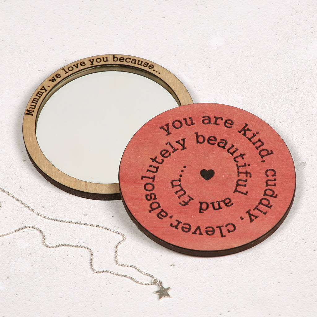 Mum, I Love You Because… Compact Pocket Mirror