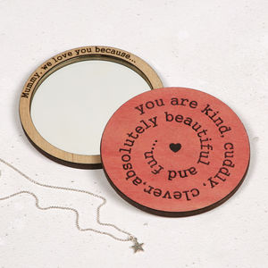 Mum, I Love You Because… Compact Pocket Mirror - mother's day gifts