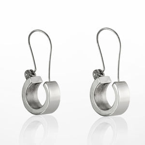 Contemporary Urban Charm Sterling Silver Earrings - earrings