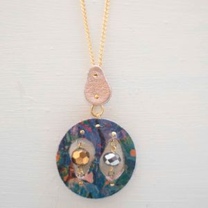 Earth Orbit Marbled Leather Cutout Circle Pendant