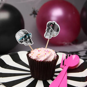 24 Halloween Skull Cake And Cocktail Toppers
