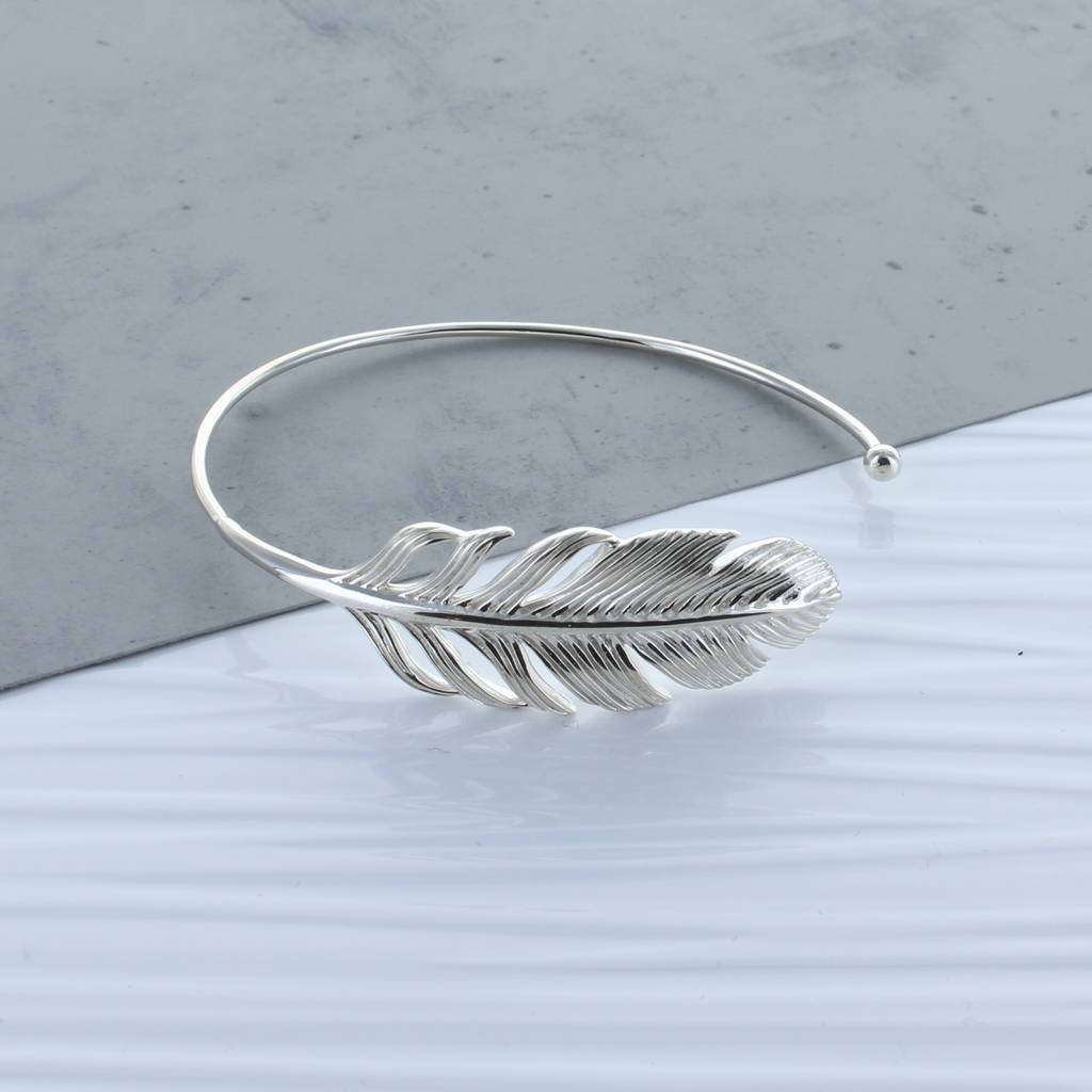 Feather Sterling Silver Bangle