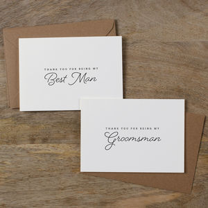 Groomsman Or Usher Thank You Cards - wedding cards & wrap