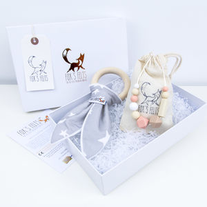 Mumma And Baby Stars Teething Gift Set Grey