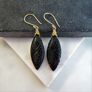 Carved Black Onyx Earrings