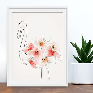 Flamingo Floral Illustrative Art Print