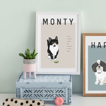 Pet Traits And Portrait Illustrated Poster Print