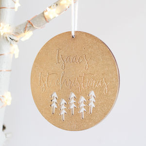 Personalised First Christmas Wooden Tree Ornament