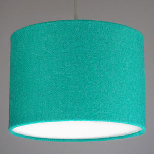 Jade Green Harris Tweed Wool Lampshade - bedroom