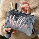 Grey Velvet Clutch Style Makeup Bag With Silver Trim