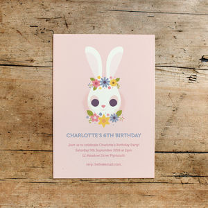 Floral Bunny Children's Birthday Party Invitations - children's parties