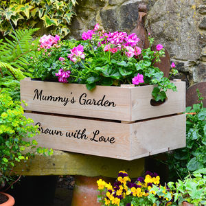 Personalised Wooden Crate Planter - personalised mother's day gifts
