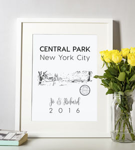 New York Central Park In The Snow Illustrated Art Print - maps & locations