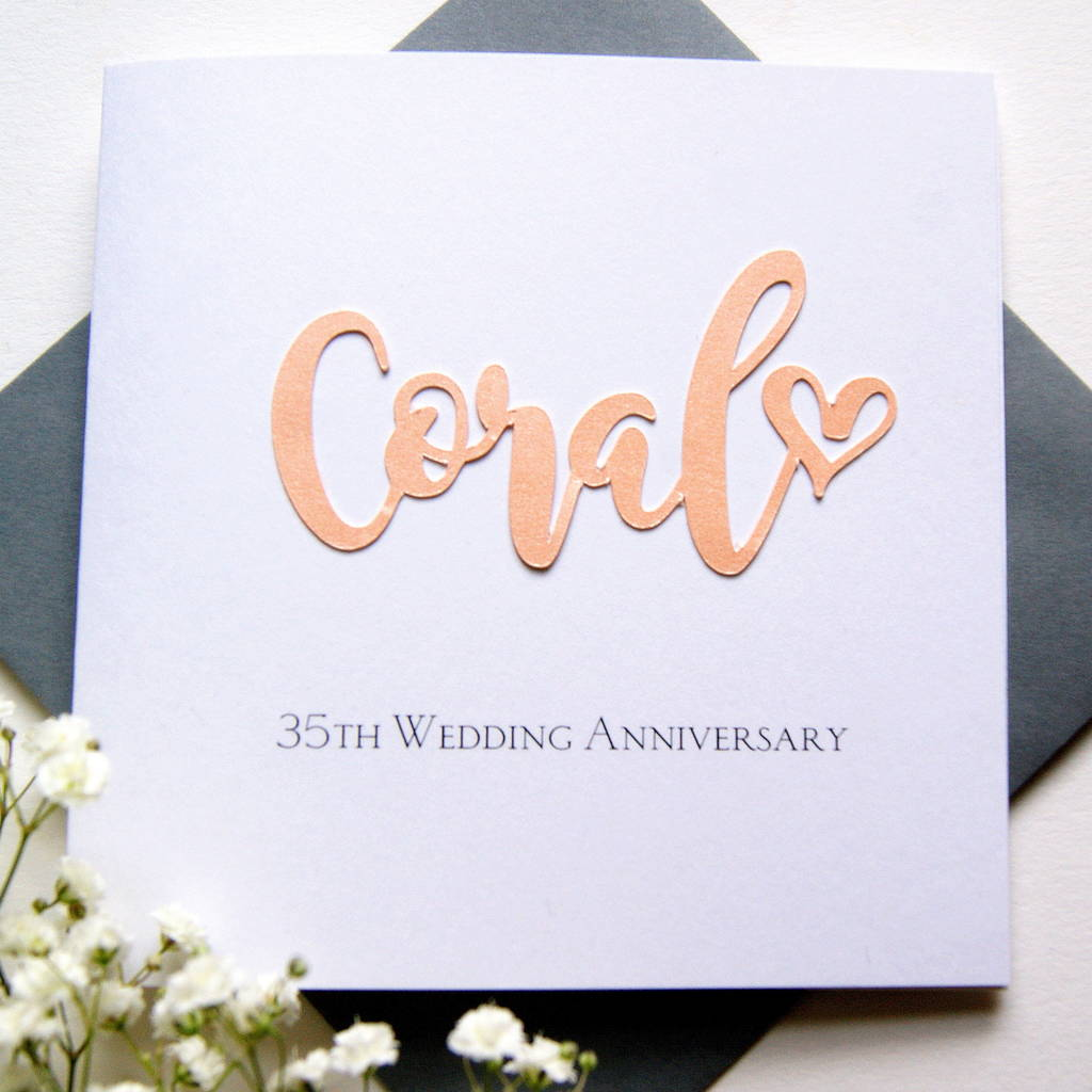 Coral Wedding Anniversary 35th Wedding Anniversary Card: 35th Coral Wedding Anniversary Card By The Hummingbird