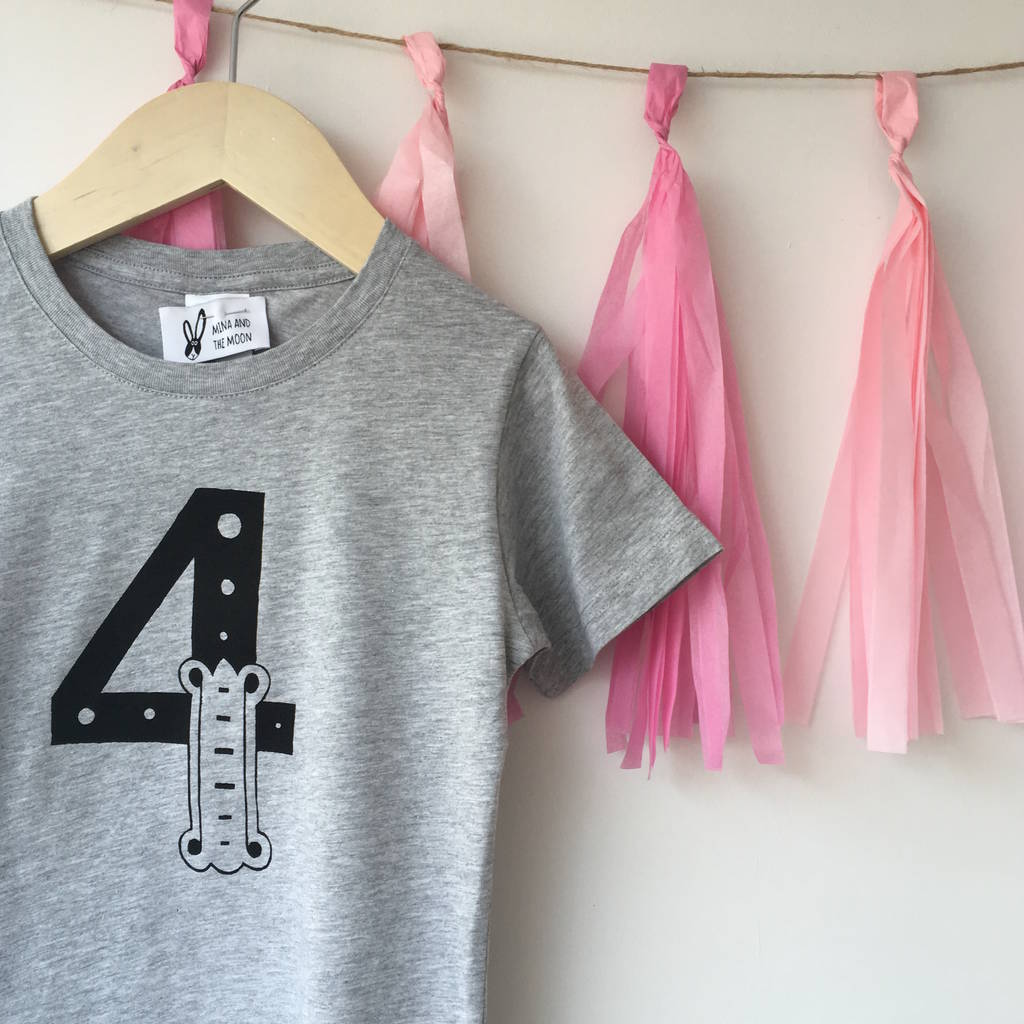 Childrens Grey Birthday Number T Shirt 1st 5th