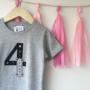 Children's Grey Birthday Number T Shirt 1st 5th - boy's t-shirts
