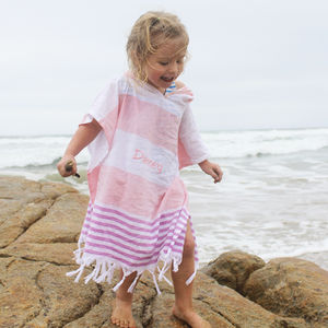 Girls Personalised Pink Cotton Poncho - swimwear & beachwear