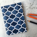Blue Pattern Notebook, A6 Geometric Design