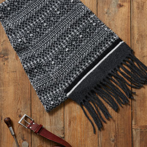 Mens Fringed Fair Isle Scarf - men's accessories