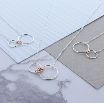 Infinity Family Ring Necklace Rose Gold Links