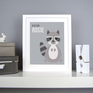 Personalised Racoon Nursery Print