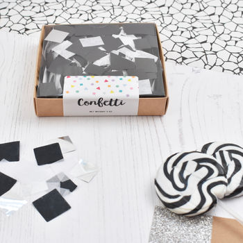 Black, White And Metallic Mix Party Confetti Box