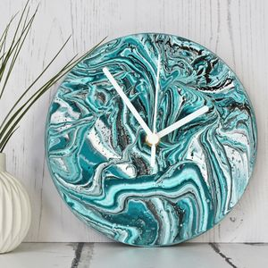 Abstract Painting Clock In Teal - new in home