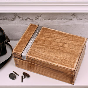 Personalised Wooden Cufflink Box - cufflink boxes & coin trays