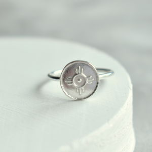 Silver 'Happiness' Amulet Ring